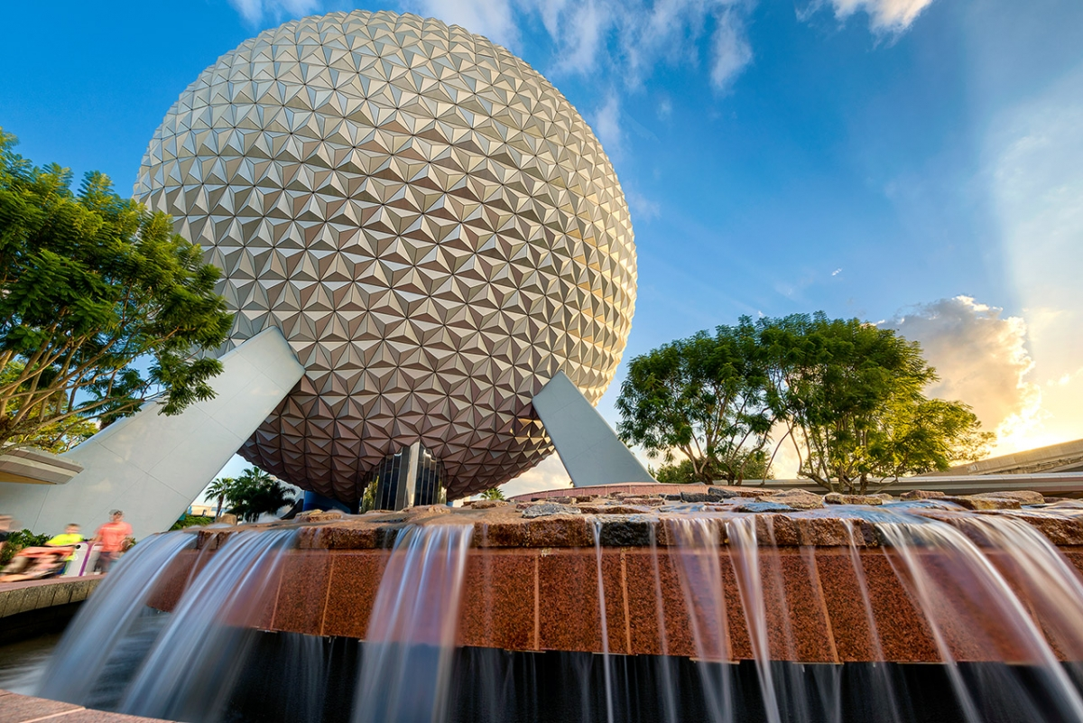Spaceship Earth Fountain Sunset