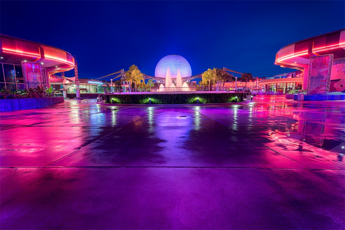 Spaceship Earth, the Fountain of Nations & the Rain
